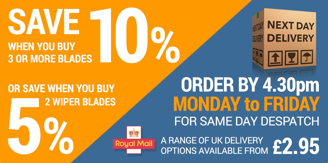 Save 5% or 10% on windscreen wipers with our Multi-Buy Discounts