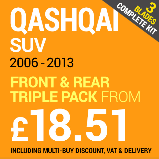 Nissan Qashqai 2006 - 2013 Front & Rear Set of Windscreen Wiper from £18.51 Including Delivery