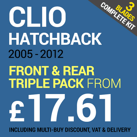 Front & Rear Set of Wiper Blades to Fit a Renault Clio 2005 - 2012 From £17.61 including Delivery