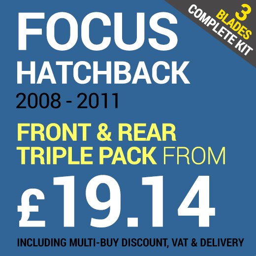 Full Set of Wipers Front & Rear to Fit a Ford Focus Hatchback 2008 - 2011 from Only £19.14 including Delivery